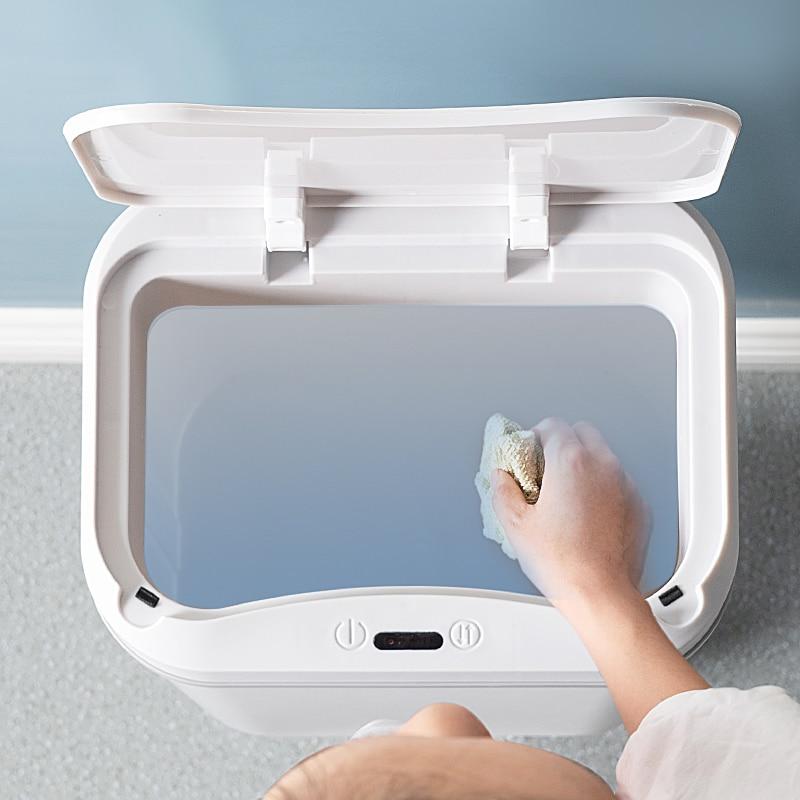 Automatic Modern Plastic Trash Bin Large Bedroom Kitchen Living Room Trash Can Toilet Bin with Lib Poubelles Waste Bin DJ60LT enlarge