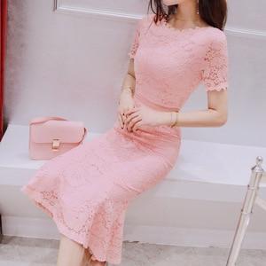 2021 Summer New Women's Fashion Celebrity Slim Waist Show Thin Temperament Lace Fishtail Short Sleeve Dress
