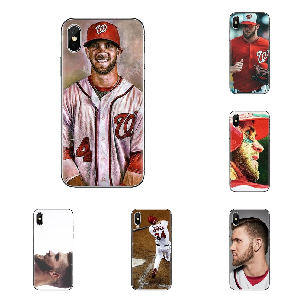 Miękka przezroczysta skrzynki pokrywa dla Samsung Galaxy A3 A5 A7 A9 A8 gwiazda A6 Plus 2018 2015 2016 2017 Baseball gracz gwiazda Bryce Harper