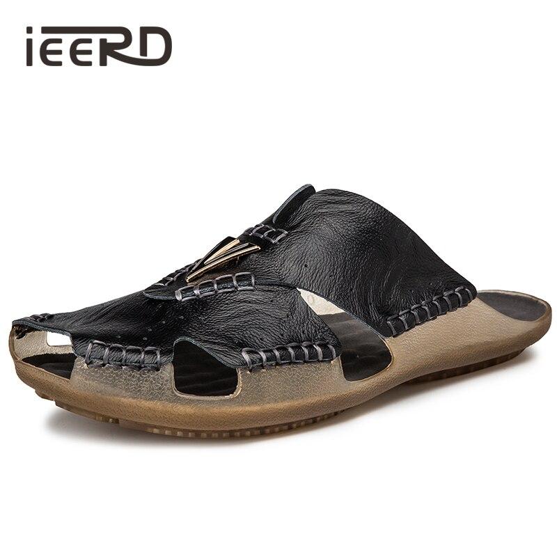 Chanclas de cuero de vaca, zapatillas de hombre, Sandalias de cuero genuino, zapatos de verano para hombres, Sandalias Super cómodas, Sandalias de playa, Dropshipping
