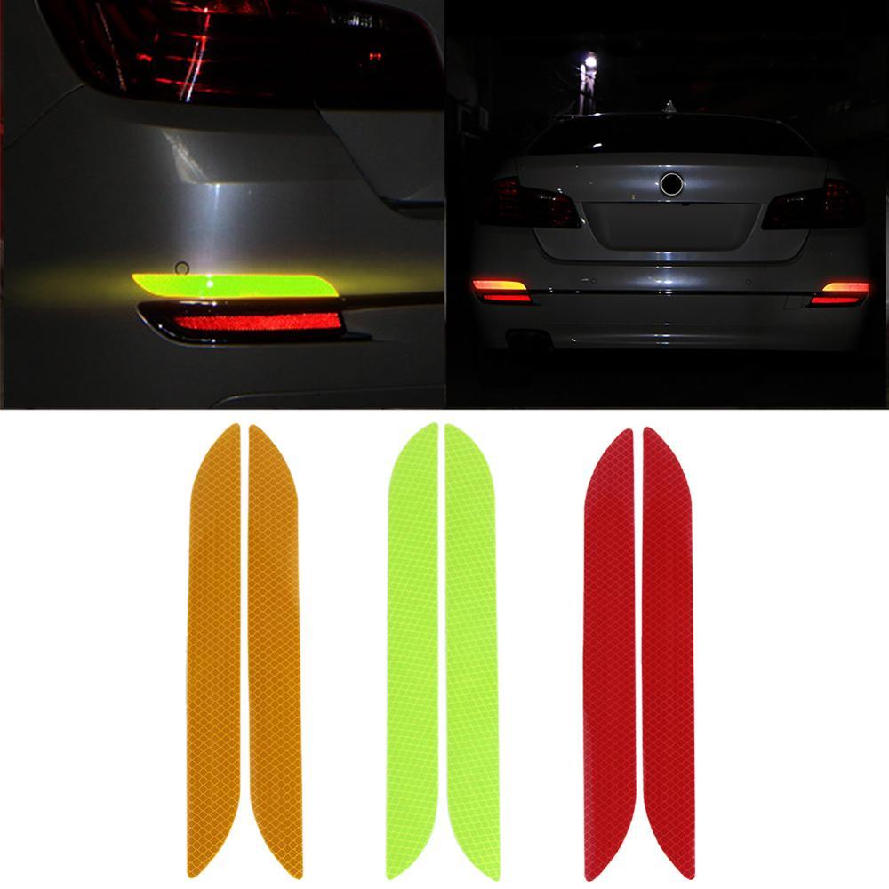 Universal 2Pcs Car Trunk Tail Safety Warning Reflective Stickers Luminous Reflector Rear Bumper Luminous Decal