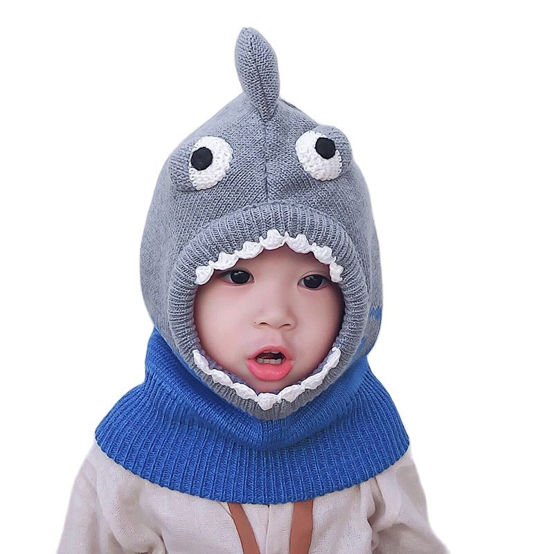 High Quality Baby Hat Winter Cartoon Shark Shape Baby Boys and Girls Cap Knitted Wind-proof Keep Warm