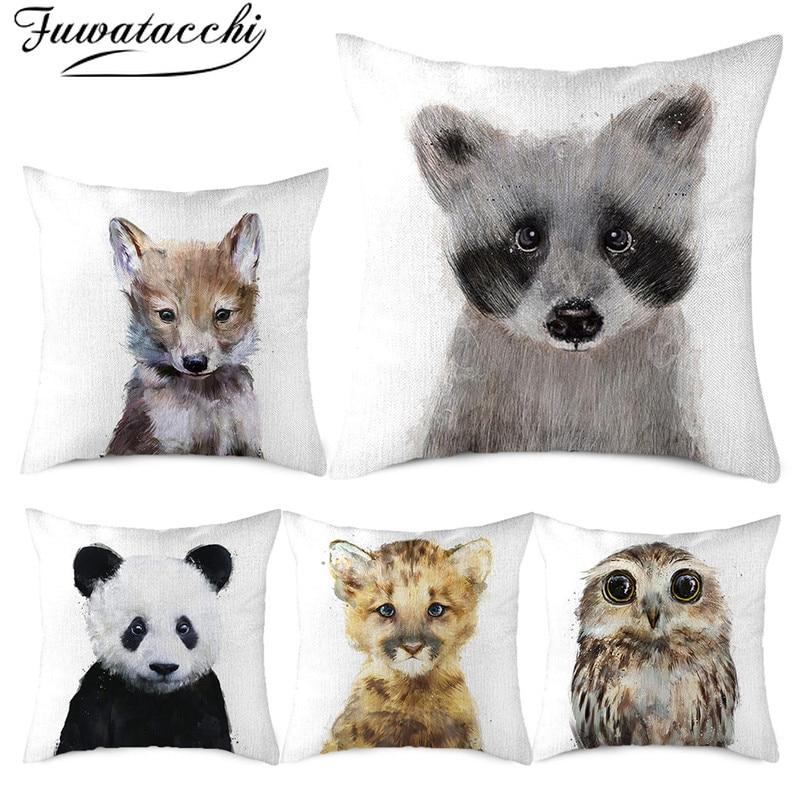 Fuwatacchi oso cerdo búho impreso tejido de lino para funda de almohada ciervo cojín con estampado de animal funda para sofá hogar coche fundas de almohada decorativas 45x45cm