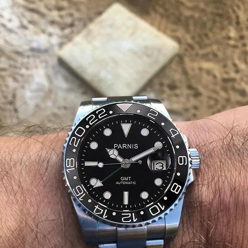 Parnis 40mm שחור חיוג GMT מכאני שעון ספיר זכוכית אוטומטית mens שעון באיכות גבוהה סופר זוהר Relogio Masculino