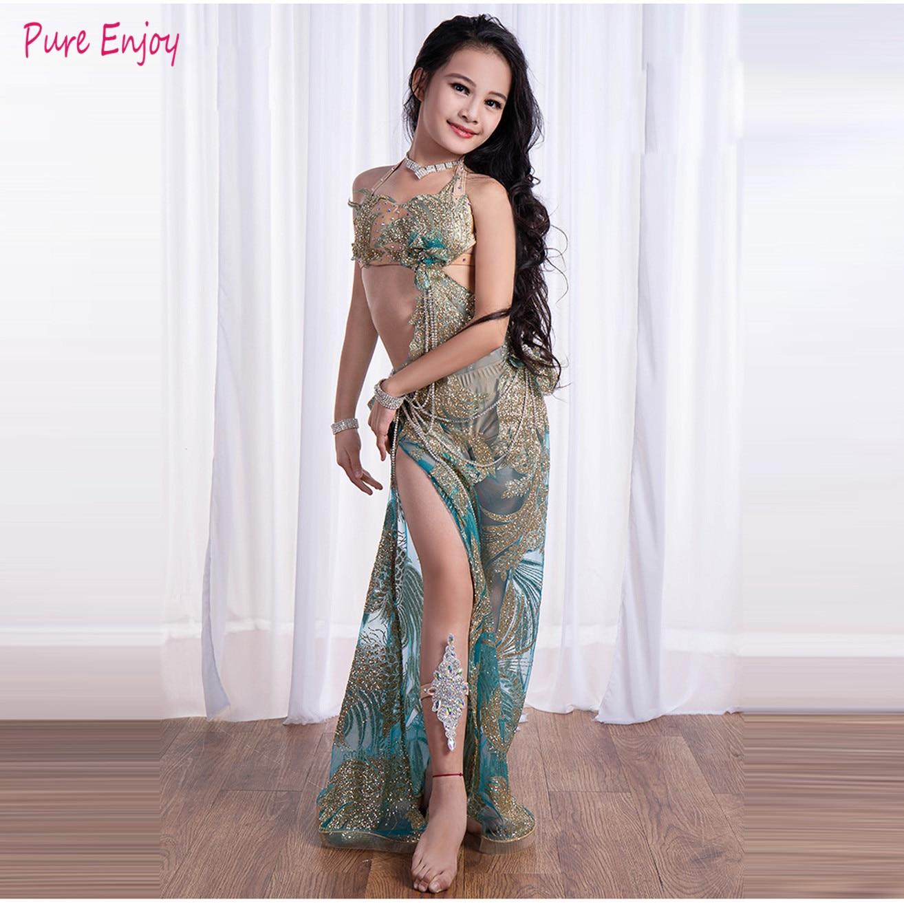 Hecho a medida nuevo lujo niños danza Oriental Falda larga Sexy para niños bonitos trajes de competición de danza del vientre