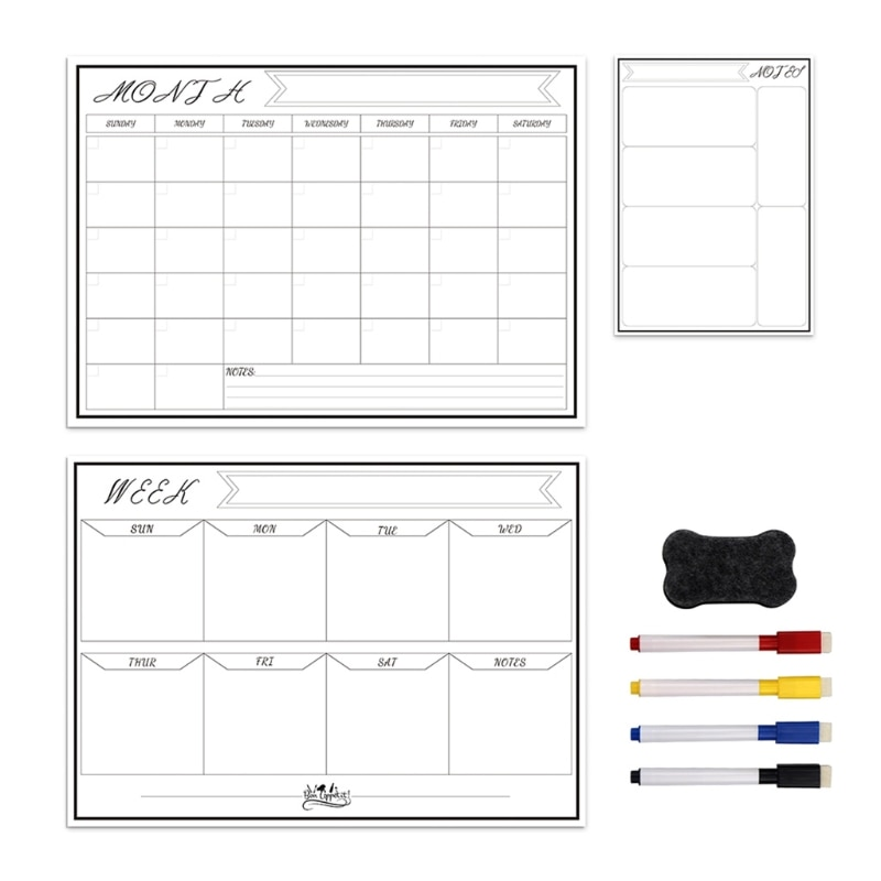 Erasable Magnetic White Board Kit Weekly Monthly Schedule Planner Calendar Fridge Magnet Drawing 652E