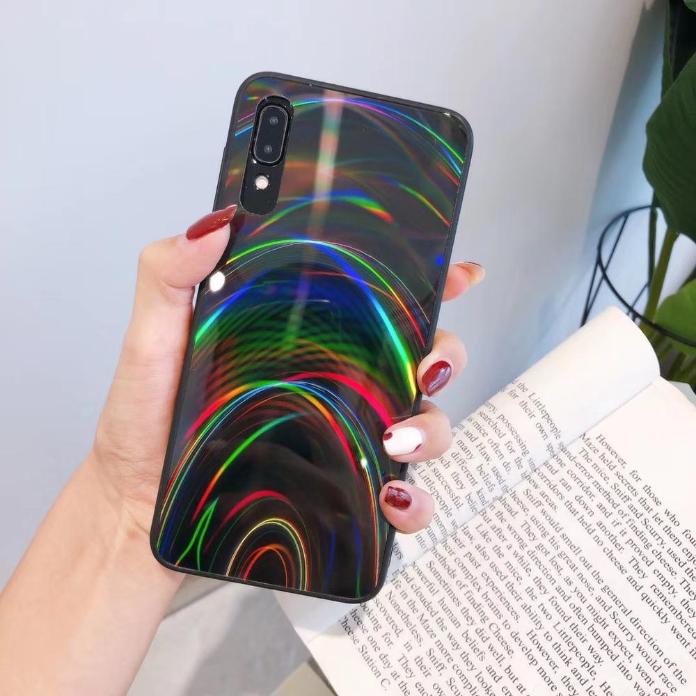 Funda blanda con espejo de arcoíris para Samsung Galaxy A71, A51, S20, Ultra A10S, A20S, J8, 2018, J6, funda brillante