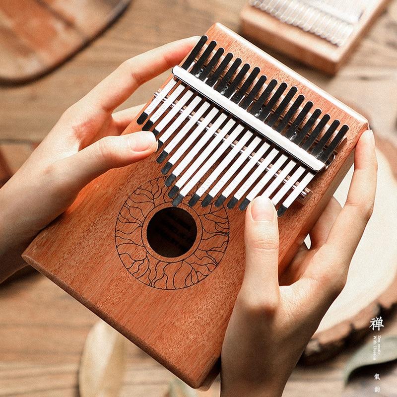 Kalimba 17 Key Thumb Piano Portable Musical Keyboard Instrument Solid Wood with Tuner Hammer Great Sound Kalimba Finger Piano