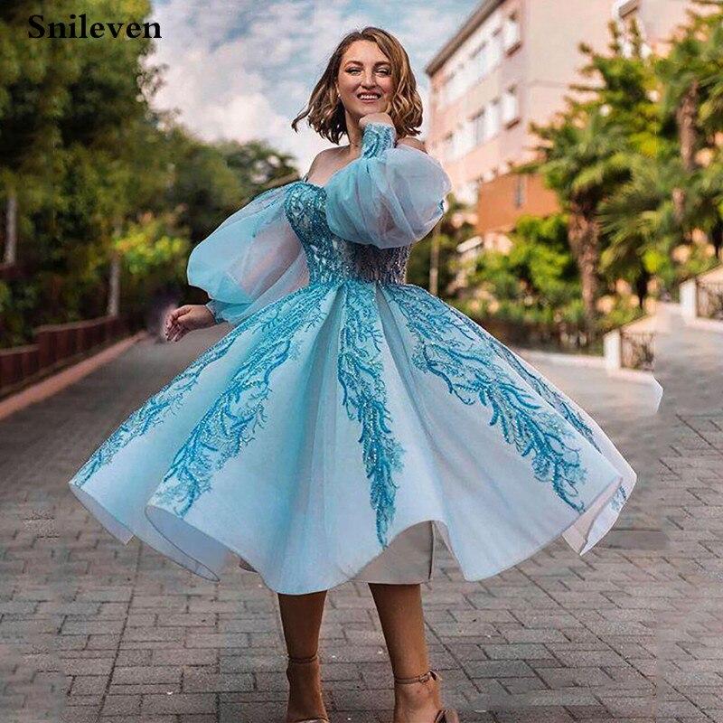 Smileven puff manga curta vestido de baile vestido de baile lantejoulas rendas vestido de festa à noite robe de soiree fora do ombro vestidos de festa