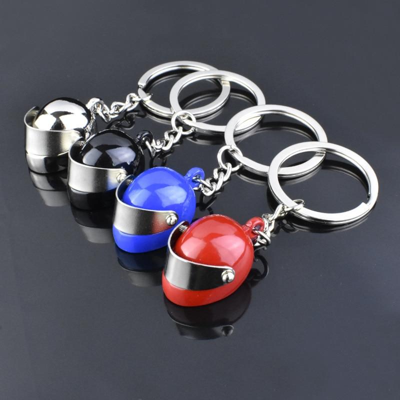 Vicney Metal Motorcycle Helmet Key Chain Fashion Stereo Motorcycle Helmets Safety Auto Bag Car Key Ring Keychain Gift