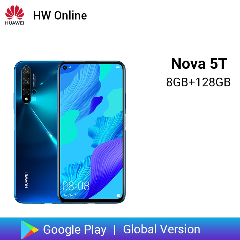"Versión Global Huawei Nova 5 T 5 T 8GB 128GB Smartphone 48MP cámaras 32MP cámara frontal 6,26 ""pantalla completa Kirin 980 Android 9"