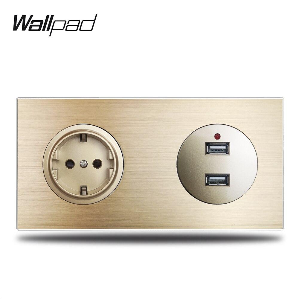 وول باد L6 الذهب الاتحاد الأوروبي مقبس الحائط مخرج طاقة كهربائية USB شحن منافذ 2.4A الذهب نحى الألومنيوم لوحة معدنية ، 172*86 مللي متر