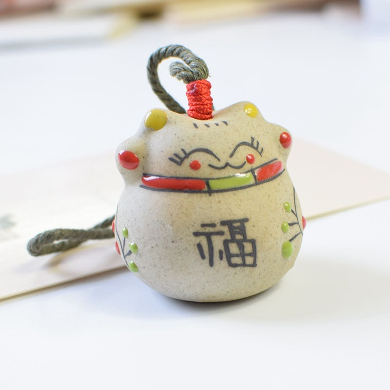 Home Decor Ceramic Chinese Lucky Cat Bell Wind Chimes Pendant Ornament Bell Furniture Birthday Gift  - buy with discount