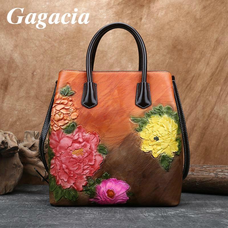 GAGACIA Vintage Bucket Handbag For Women 2021 New Handmade Embossed Leather Shoulder Bag Retro Woman Big Flower Tote Female Bags
