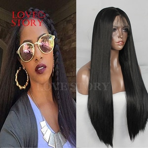 Lovestory Black Color Synthetic Hair Wig Yaki Straight Heat Resistant Synthetic Lace Front Wigs With Babyhair