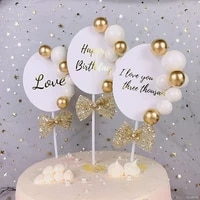 1pc birthday wedding cupcake decor happy birthday i love you cake toppers with bow adult kids birthday party decoration supplies