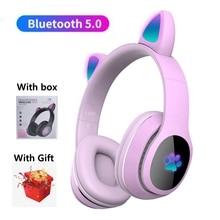 With Box, Cute Cat Wireless Headphone with Mic & Light Glowing LED Cartoon Kid Helmet, Girl Music Bl