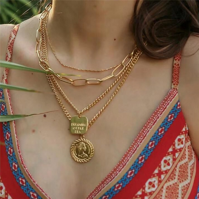 Vintage layered Napoleon Coin Pendant Gold Color Statement Necklace Big Chains Square Letter  Charm Jewelry NB172