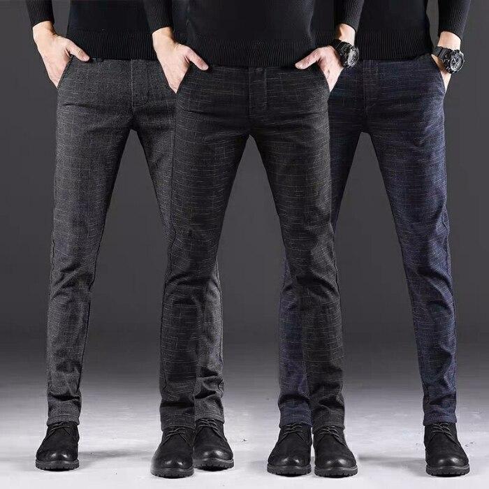 Повседневные мужские брюки, модные Молодежные прямые брюки в Корейском стиле, мужские облегающие мужские брюки, стильные брюки с передней ч...
