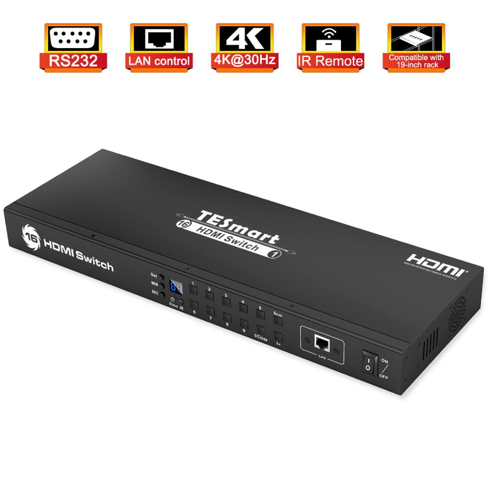 HDMI Switch 4K UHD 16 Ports Console Rack Mount Switch USB 2.0 16 Port Input up to 16 PCs RS232 LAN Port Control Switch