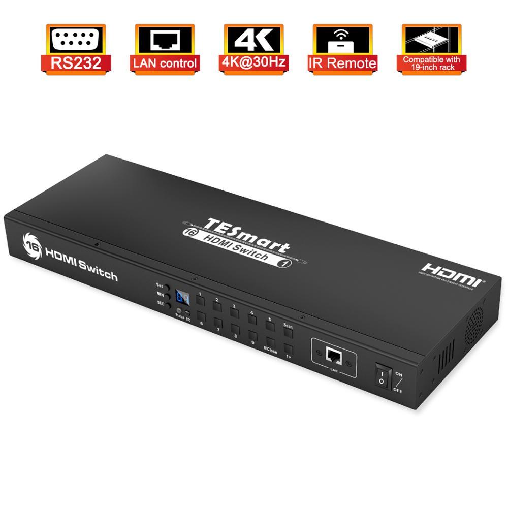 HDMI التبديل 4K UHD 16 منافذ وحدة رف جبل التبديل USB 2.0 16 ميناء المدخلات يصل إلى 16 قطعة RS232 LAN ميناء التحكم التبديل