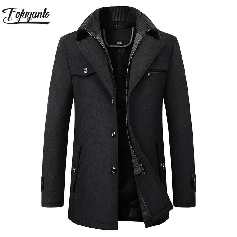 FOJAGANTO Winter New Men Solid Wool Blend Coats Fashion Brand Men Long Wool Coat Double Collar Thick