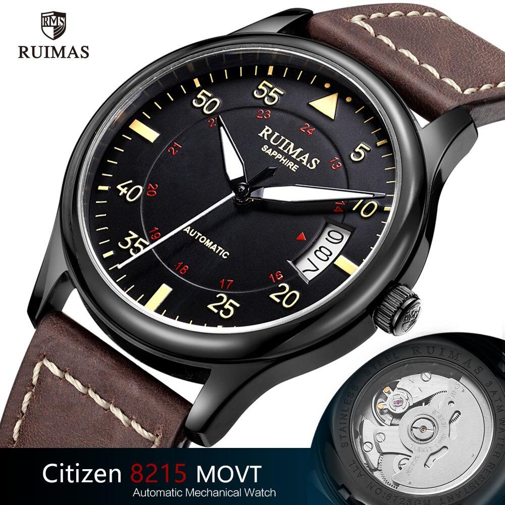 Ruimas автоматические механические часы, мужские роскошные классические деловые часы от ведущего бренда Citizen, светящиеся мужские часы, часы в ретро-стиле, Relogio