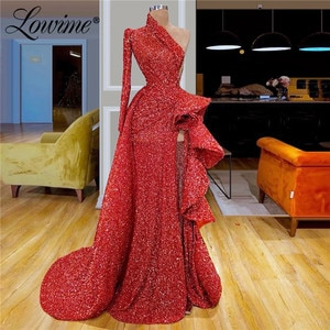 Custom Made Red Beaded Evening Dresses 2020 Aibye Middle East Women Couture Dubai Vestidos Prom Dress Saudi Arabic Party Gowns