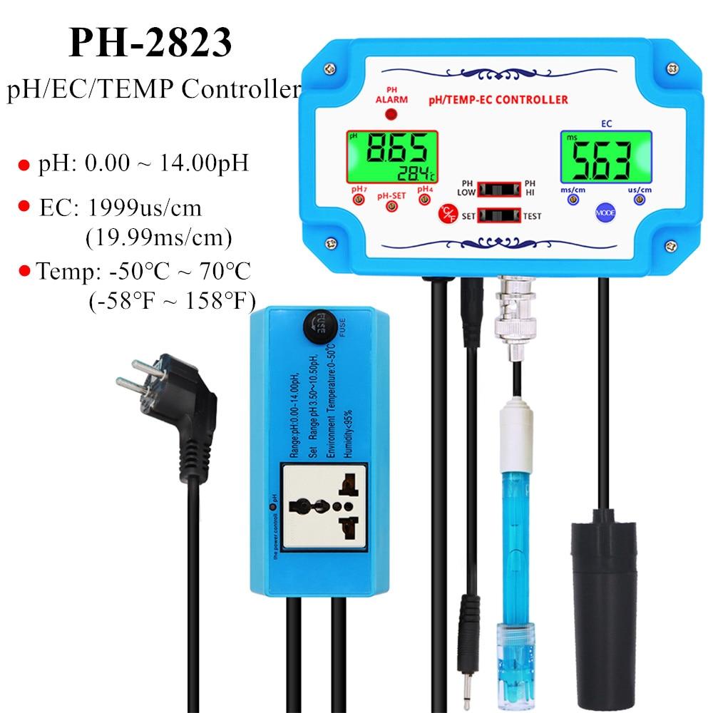 PH-2823 3 في 1 pH/TEMP/EC تحكم pH نوعية المياه كاشف تتابع المكونات Repleaceable القطب BNC نوع التحقيق المياه اختبار