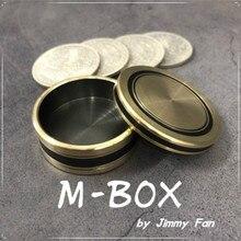 M-BOX by Jimmy Fan (Morgan Size) Magic Tricks Coin Appear Vanish Magician Close Up Illusion Gimmick Mentalism Upgraded Okito Box