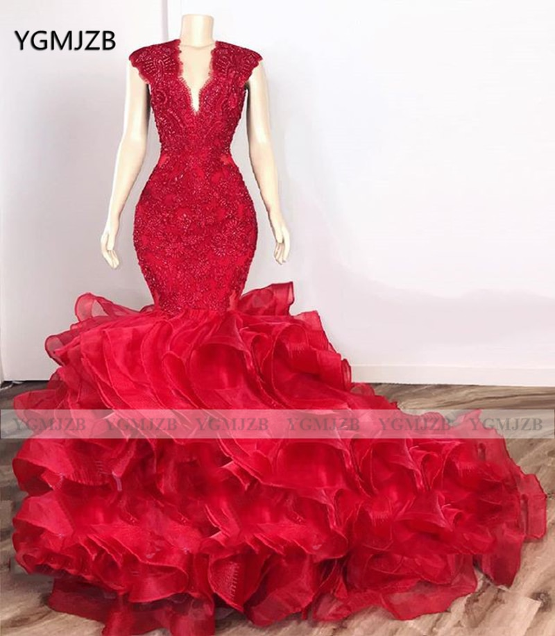 Red Mermaid Prom Dress 2020 V Neck Cap Sleeve Ruffles Beading Crystals Lace Gown Women Formal Party Evening Gowns