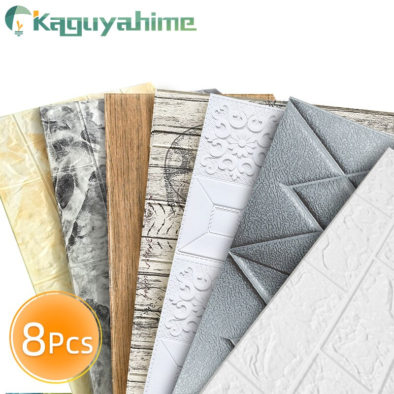 Kaguyahime, 8 Uds., DIY 3D pegatinas de pared, papel tapiz decorativo autoadhesivo para dormitorio, cocina, pegatina impermeable, papel tapiz 3D, ladrillo
