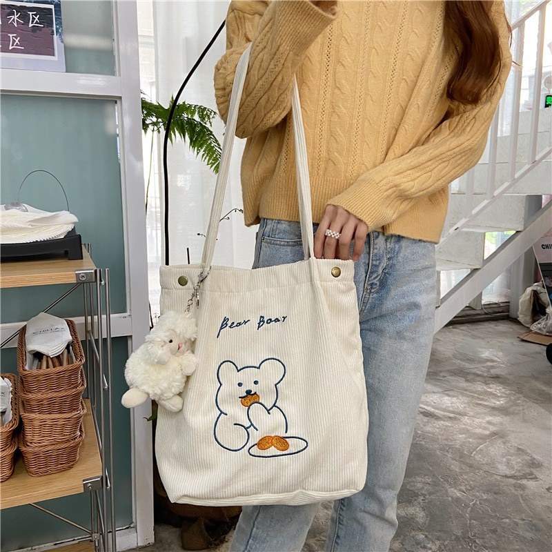 W&G Japanese corduroy embroidery bear shoulder bag college style all-match shopping bag