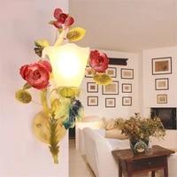 Applique europeenne fleur couloir decoration murale decoration salon lit chevet applique chambre barre luminaires muraux pour la maison
