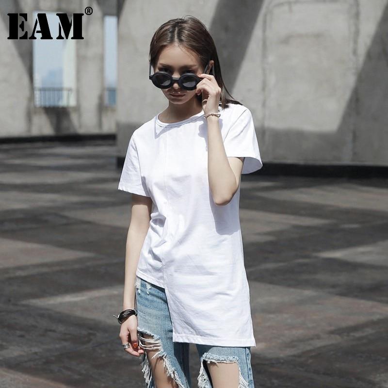 [EAM] Camiseta corta de manga corta con dobladillo Irregular y empalme Irregular para mujer, nueva moda Primavera Verano 2020 JL446