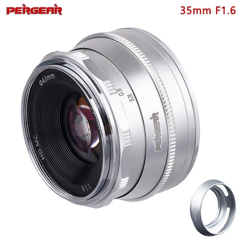 Pergear 35mm f1.6 foco manual prime lente fixa para sony e-mount câmeras NEX-5 NEX-C3 NEX-5N NEX-7 NEX-F3 NEX-5R NEX-3N NEX-5T