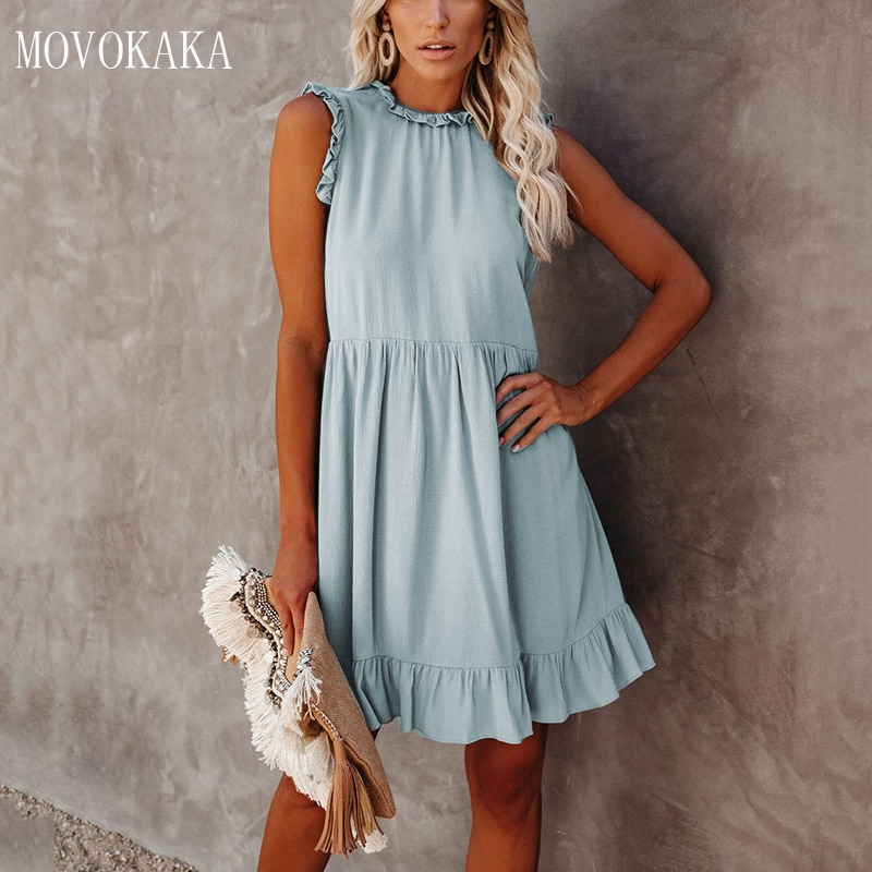 MOVOKAKA Solid Color Summer Dress Sexy Elegant Vintage Ruffle Sleeveless Dresses Woman Party Vestidos Slim Princess Dress Women dress bow hair bands ins solid color one shoulder sleeveless ruffle edge women s dress suspender dress family grl clothes