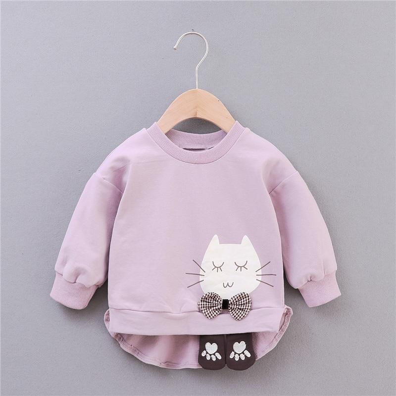 Baby Girls T-Shirt Girl Cotton Autumn Spring Long-sleeved T-shirt Cartoon Cat Tee Girl Tops Baby Clothes