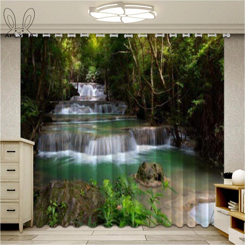 3D cascada paisaje ventana cortinas para sala de estar paisaje árboles flores cortinas opacas para dormitorio Ultra-Delgado Micro sombreado