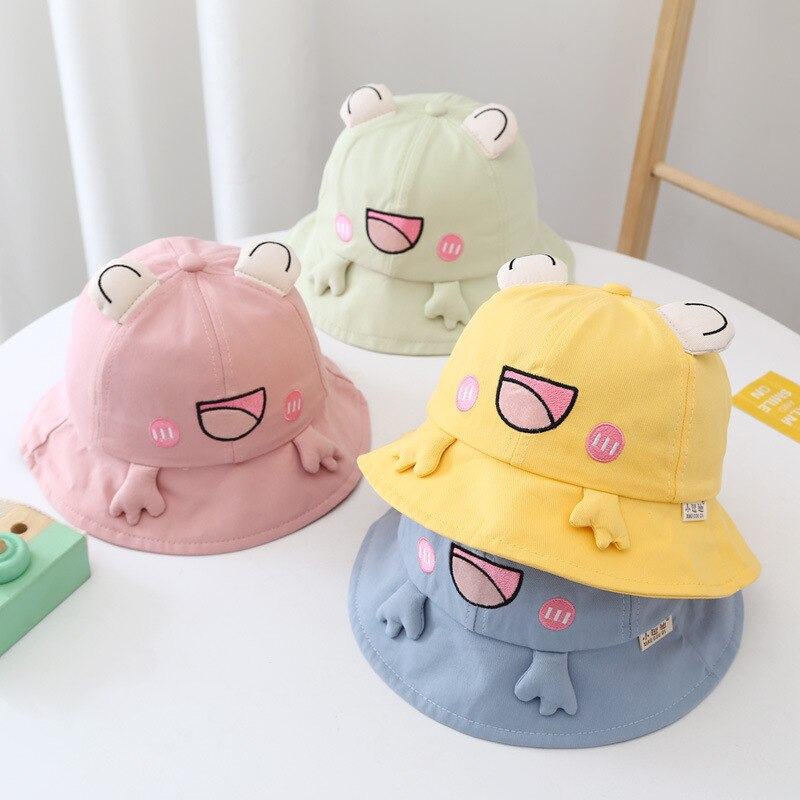 3-6 Years Kawaii Cute Frog Bucket Hat For Boys Girls Child Baby Spring Summer Cartoon Animal 50CM Pa