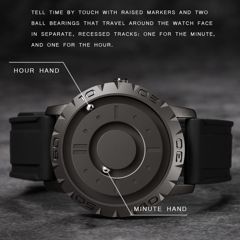 Eutour أصلي علامة تجارية جديدة مؤشر مغنطيسيّ حرّ مفهوم ساعة كوارتز ساعة رجالي موضة ساعة بحزام مطّاطي