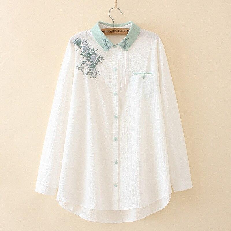Blusa feminina de tamanho grande manga comprida bordado floral branco camisas ol topos