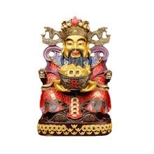 Estatua de Dios de la riqueza de Buda de la suerte con apertura de cobre puro Wen estatua de Dios Buda Pueblo de la suerte, altura de aproximadamente 45cm, cara dorada