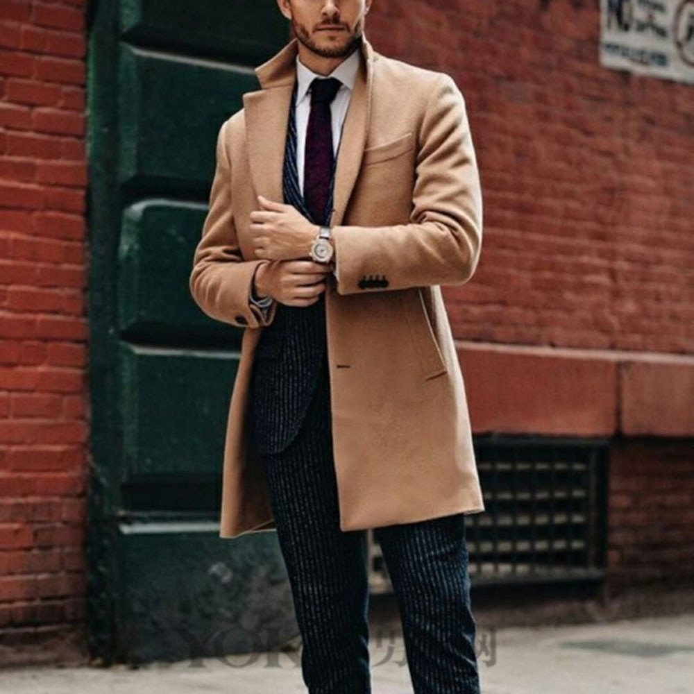Woolen Coat Solid Color 2021 Autumn Winter New Men Long Sleeve Single Breasted Lapel Fashion Design