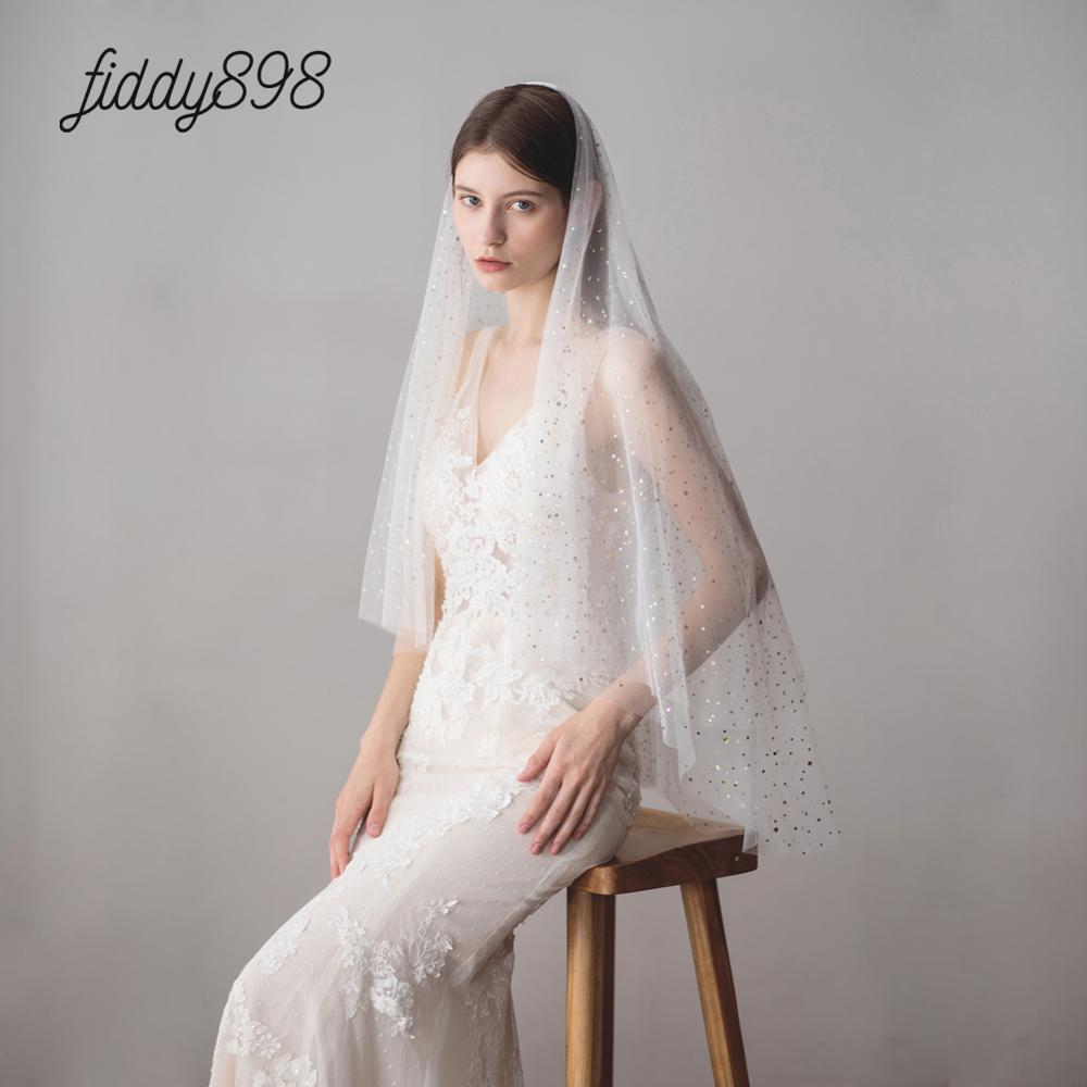 Velo de novia brillante de dos capas, velo de novia brillante de...
