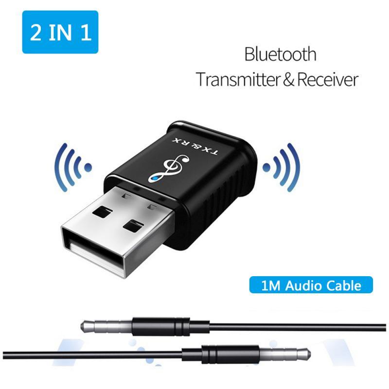 2-in-1 USB Bluetooth Adapter Transmitter Receiver 5.0 Adapter Aptx Wireless Headphone PC Music Receptor Audio Bluetooth Adapter