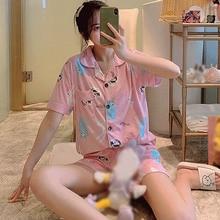 Summer Short-sleeved Shorts Pajamas Women Cardigan Lapel Milk Silk Cute Cartoon Girl Large Size Home Service Suit Lattice Loose