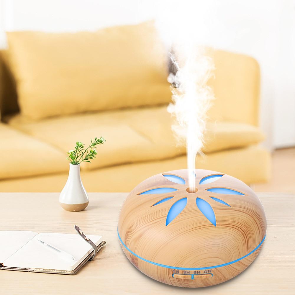 500 مللي الإبداعية زهرة البتلة المرطب 12 واط بالموجات فوق الصوتية ناشر رائحة لتنقية الهواء المنزلية 7 اللون led التدرج معطّر الهواء
