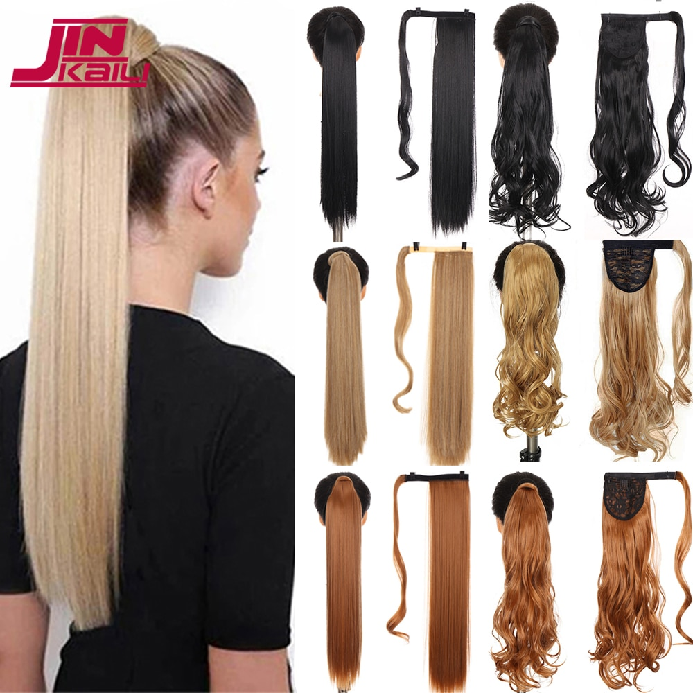 JINKAILI 85cm Synthetic Ponytail Wrap Around Clip in Pony Tail Hair Extension Heat Resistant Straight Wigs For Women