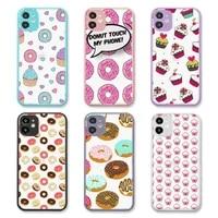girly cute donut cake phone case purple matte transparent for iphone 7 8 x xs xr 11 12 pro plus max mini clear funda